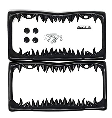 SUPERB Shark Tooth License Plate Frame (Black Painted Metal) with Theft-Deterrent caps, Set of 2