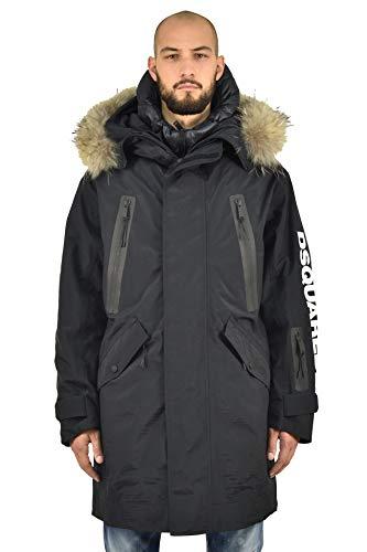 DSQUARED2 Ski-Parka für Herren, Schwarz, Kapuze, Polyamid, langes Modell, Bomber Varsity Innen, Parka, Schwarz 46