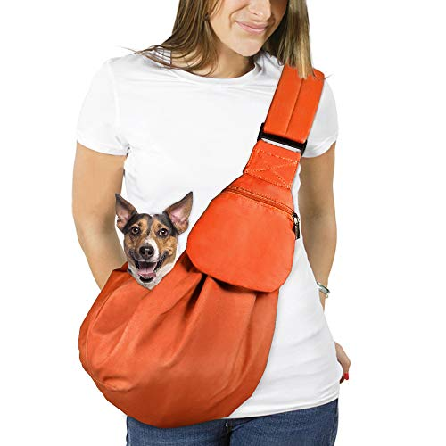 AUTOWT Dog Padded Papoose Sling, Small Pet Sling Carrier Hands Free Carry Adjustable Shoulder Strap Reversible Outdoor Tote Bag with a Pocket Safety Belt Dog Cat Carrying Traveling Subway (Orange)