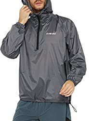 powerful DEMOZU Men's Waterproof Hooded Waterproof Jacket Packable Lightweight Windproof Running Shoes Outdoor Hiking…