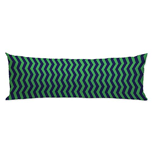 CiCiDi Navy Green Zigzag Pattern Body Cushion Pillow Covers Decorative Long Pillowcase with Zipper Twin Sides for Home Couch Sofa Bed 20'X54',A05,4.5ft(50x137cm)