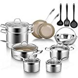 Duxtop 17PC Professional Stainless Steel Induction Cookware Set, Stainless Steel Ceramic Nonstick...