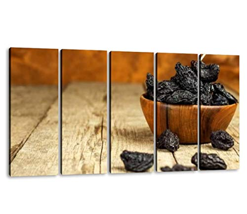 KiiAmy 5 Panels Art Wall Decor Prune Dried Plums Fruits on Rustic Wooden Background Dry Plums in a Artwork Modern Canvas Prints Office Bedroom Home Decor Framed Painting Ready to Hang (60''Wx32''H)