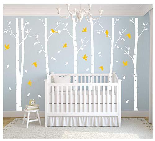 """BDECOLL weiß große Baum wandtattoo wandsticker,Aufkleber/Sticker, ablösbar, Vinyl, für Kinderzimmer,weiße und gelb, 71"""" h x 110w"""