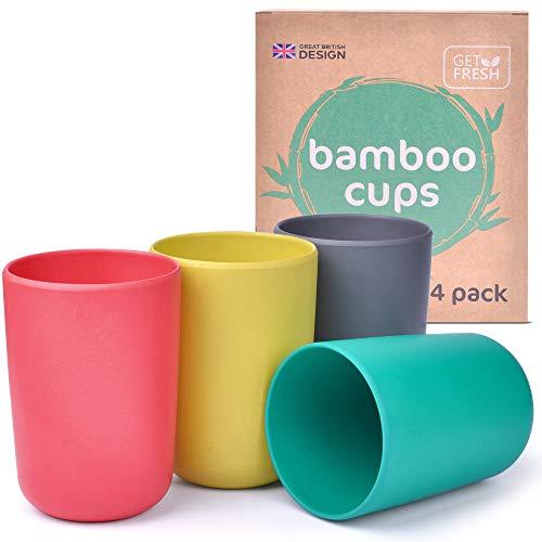 Get Fresh Bambus Kinderbecher Set - 4er-Pack Wiederverwendbare Bambus Becher für Kinder und Erwachsene - BPA-freie Bambusfaser Kinder Trinkbecher - Bambus Kindergeschirr Tassen Set