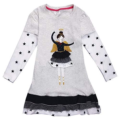 VIKITA Mädchen Kleider Streifen Langarm Baumwolle Herbst Winter T-Shirt Kleid LH3661 5T