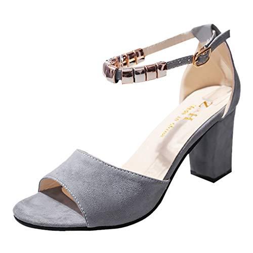 JODIER Hebilla de Moda para Mujer con Boca de pez de Punta Abierta Sandalias Zapatos de Mujer de Vestir Verano Sólido Zapatos de Tacón Altas de Cuña Plataforma Sandalias Impermeable Open Toe Fiesta