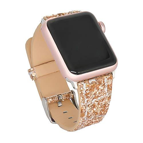 WJMT Correa de Reloj de Manzana de joyería de Acero Inoxidable de 38 mm y 40 mm para Iwatch Series 6, 5, 4, 3, 2, 1, Correa de Diamante de Cristal Ajustable para Mujer,42mm/44mm