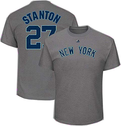 Giancarlo Stanton New York Yankees MLB Majestic Youth 8-20 Gray Official Player Jersey T-Shirt (Youth Large 14-16)