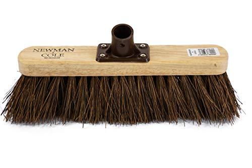 Newman and Cole - Cabezal de escoba de madera de 30,5 cm con cerdas rígidas y naturales rígidas, cabezal de escoba de madera de repuesto para barrido de cepillo de jardín al aire libre