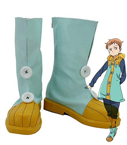 The Seven Deadly Sins Grizzly's Sin of Sloth King Harlequin Cosplay Shoes Costume Boots Custom Made Green