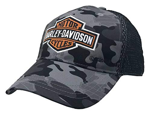 Harley-Davidson Little Boys' B&S Camo Print Toddler Mesh Baseball Cap 7270929 Gray