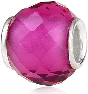 Abalorio de plata de ley 925 de Murano Lampwork de cristal de piedra natal encanto del cumpleaños del encanto del aniversario para la pulsera del encanto de Pandora … (rosa rojo)
