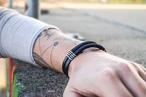 Surferarmband aus Leder für Herren - Surfer Armband Lederarmband Männer - Handmade Schmuck Geschenk - Herrenarmband Echtleder - Schwarz/Schwarz