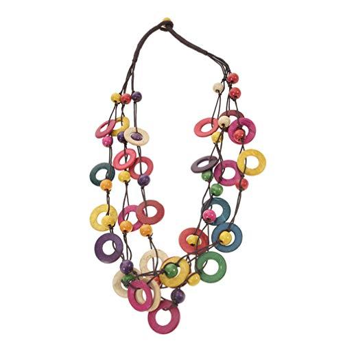 PRETYZOOM Prestyzom - Collar de Bohemio de Colores con Concha de Coco Retro Hawaii para Mujer, niña, Fiesta o Despedida, Accesorios de Joyas de Disfraz, 1 Unidad