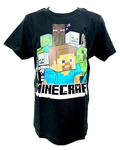Passend zu Minecraft: Creeper Steve T-Shirt schwarz Gr. 128