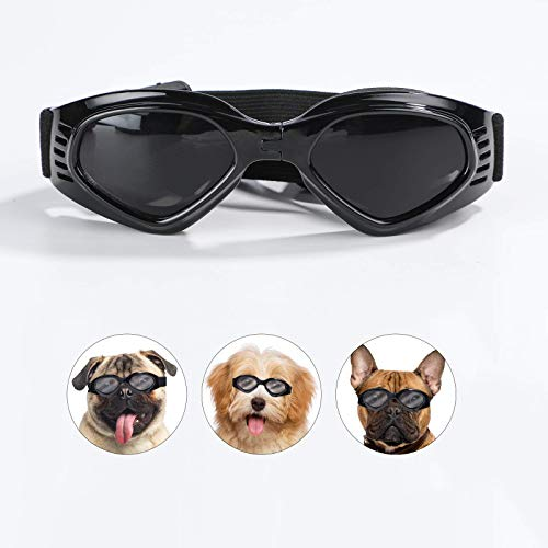 NVTED Dog Goggles Dog Sunglasses, Foldable Pet Sunglasses Adjustable Eyewear UV Protection Glasses for for Small Medium Cat Dog (Black)