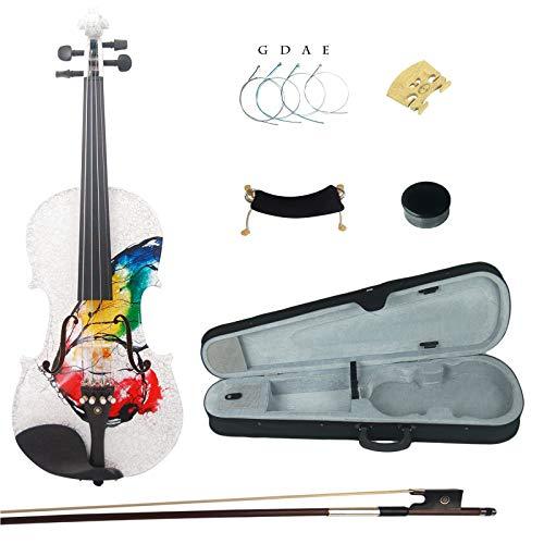 Kinglos 4/4 Farfalla Colorato In Legno Massello Violino Kit Raccordi Ebano - NHS3002