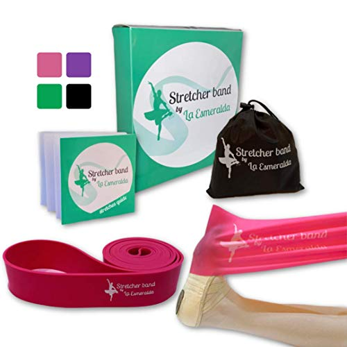 Stretch Bands set of 2 for Ballet, Dancers, Gymnastics .Resistance bands to Improve Flexibility, Splitting and Strenght. 3 Colors, Gift box, Instruction booklet, carry bag Including. (Pink Set of 2)