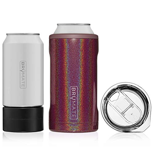 BrüMate HOPSULATOR TRíO 3-in-1 Stainless Steel Insulated Can Cooler, Works With 12 Oz, 16 Oz Cans And As A Pint Glass (Glitter Merlot)