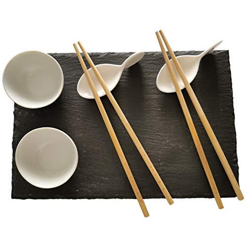 SabelAX - Juego Vajilla para Sushi para 2 Personas - 9 Piezas, 1 Plato Pizarra Negra, 2 Soportes para Palillos de Ceramica, 2 Cuencos de Ceramica para Salsa Soja, 2 Pares de Palillos de Bambu