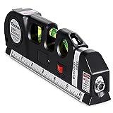 Nivel Láser Qooltek-Medición láser multifuncional, Líneas láser horizontales verticales cruzadas, Cinta Métrica 2,5m / 8ft, Regla metalica 15cm/ 6 Pulgadas