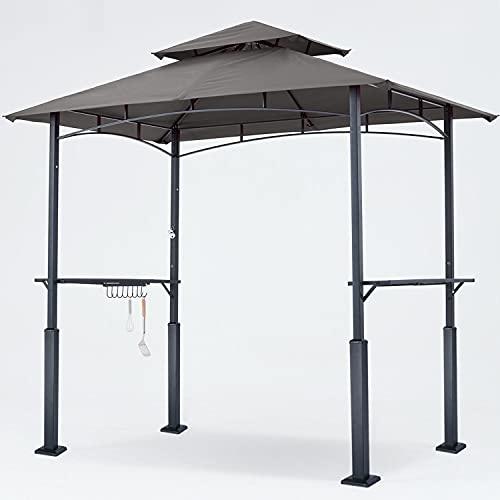 ABCCANOPY 8'x 5' Grill Gazebo Double Tiered Outdoor BBQ Gazebo Canopy with LED Light (Dark Gray)