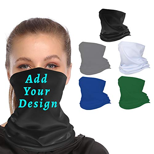 Chilimen Custom Neck Gaiters for Men Personalized Bandana Windproof Face Cover UV Protection Magic Sarf for Women