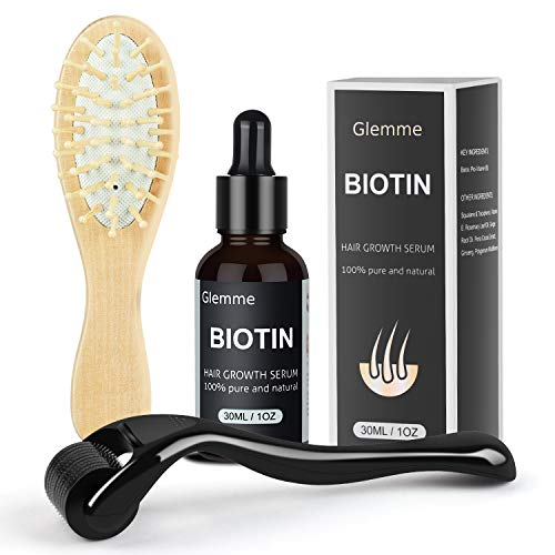 Glemme Biotin Hair Growth Products Kit, Microneedle Derma Roller for Scalp Hair Regrowth Men and Women, Best Hair Loss Treatment