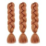 Synthetic Jumbo Braiding Hair Ombre Light Brown Honey Blonde Jumbo Braids Crochet Hair Fold 24' Synthetic Fiber Hair Extensions (100G/pc,3pcs/Lot)