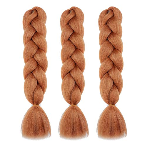 "MY LIKE Kanekalon Braiding Hair Ombre Light Brown Honey Blonde Jumbo Braids Crochet Hair Fold 24"" Synthetic Fiber Hair Extensions (100G/pc,3pcs/Lot)"