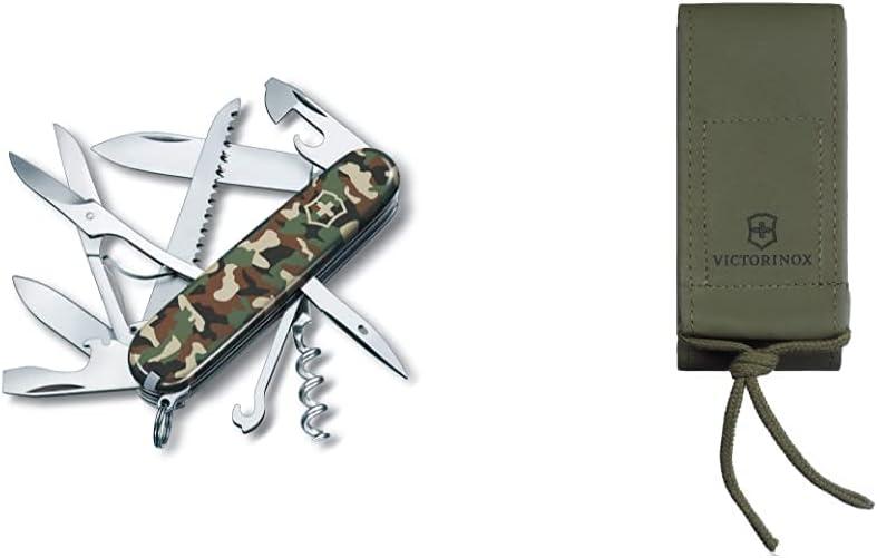 Victorinox 1371313Np Navaja Huntsman, Camuflaje 13713.94, Camouflage + V4.0822.4 Funda Imitación Piel, Verde, S