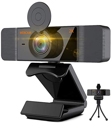 Aode Webcam HD 2K web Camera with Microphone Computer Web Camera for PC MAC Laptop, Plug and Play USB Webcam with Privacy Cover and Tripod for Youtube,Twitch,Skype,Video Calls,Conferences,Game