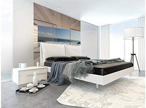 Vlies Fototapete FENSTER AUF STRAND 225 x 250 cm   Vliestapete - Wandtapete für Wohnzimmer Schlafzimmer Büro Flur   PREMIUM QUALITÄT - MADE IN EU - Inklusive Tapetenkleber