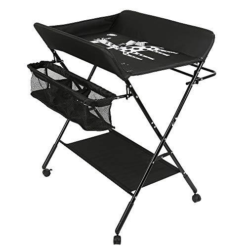 Table à Langer Pliable et Portable, Table a Langer Pliante Chambre Bébé Réglable en Hauteur (Noir)