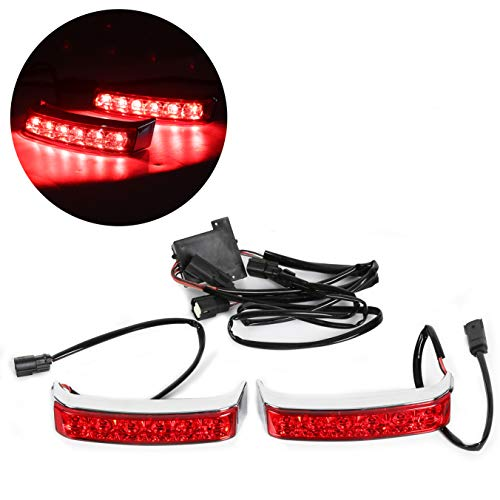 LED Saddle bag Run/Brake/Turn Lamp Light Chrome Housing Red Len For Harley 2014-later Touring FLHTCU FLHTCUL FLHTK FLHTKL FLTRU and 2016-later FLHTKSE FLTRUSE models