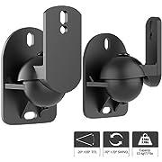 1home 2 Stück (1 Paar) Universell Lautsprecher Boxen Wandhalter Audio Speaker Halter verstellbar Neigbar Schwenkbar Schwarz, hält bis 3,5 kg