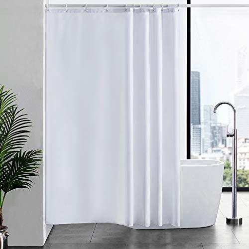 Furlinic Tenda da Doccia, Tessuto Anti-Muffa Bianco Impermeabile Ultra Grande Pulita del Fodera Lavabile,Imposta con 12 Ganci di Plastica-180 x 200cm.