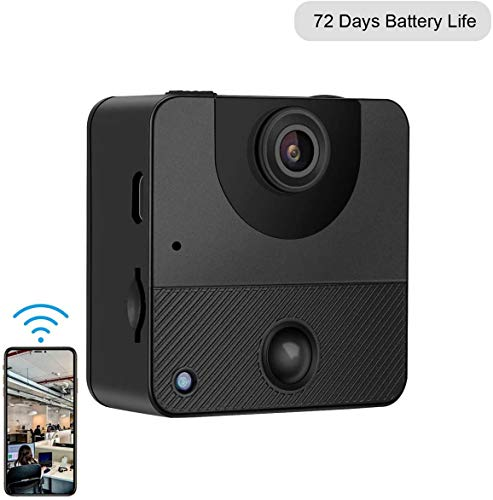 Spy Camera Wireless Hidden Camera Real-time Remote View Mini 72 Days Battery Life WiFi Security Camera with PIR Motion Sensor Night Vision Live Feed Surveillance Phone APP Nanny Cam for Indoor Outdoor