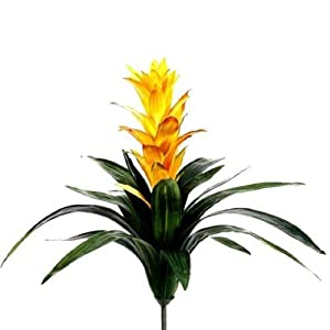 "Silk Flower Arrangements 21"" Bromeliad Yellow or Red Guzmania Plant Tropical Flowers Hawaiian Artificial Flower"