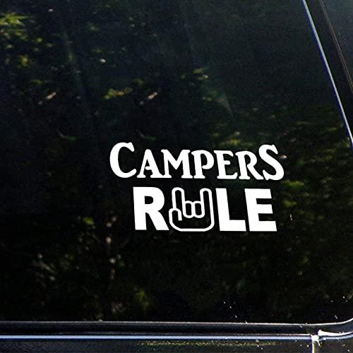 "Calcomanía de vinilo para ventana de coche con texto en inglés ""Campers"""