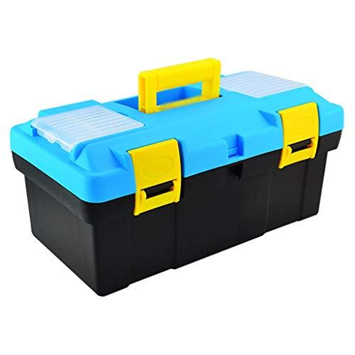 Xinxinchaoshi Caja de Herramientas de plástico con Bandeja y asa cómoda y Caja de Herramientas con pestillo para Almacenamiento de Piezas de Herramientas diarias (Color: Azul Claro-C)