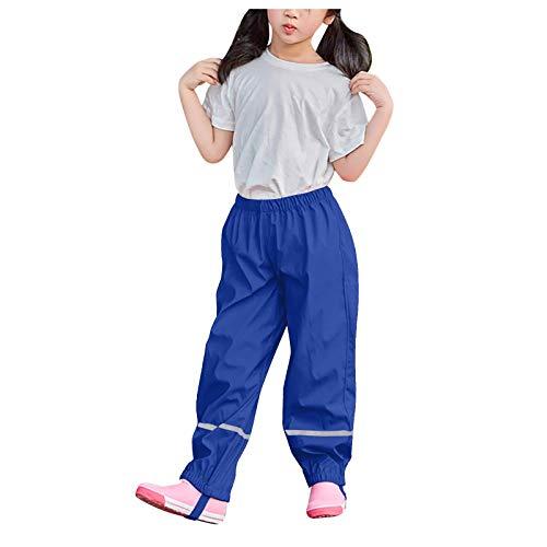 foreverH Regenhose Kinder Wind- und wasserdichte Atmungsaktiv Buddelhose Matschhose für Mädchen Jungen Outdoorhose (Blau, 134/140)
