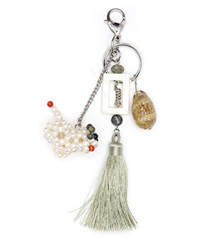 LIDA LYDI Porte-clés Acier à Sac à Main, Chien véritables Perles de Culture d'eau Douce, Nacre et Coquillage.