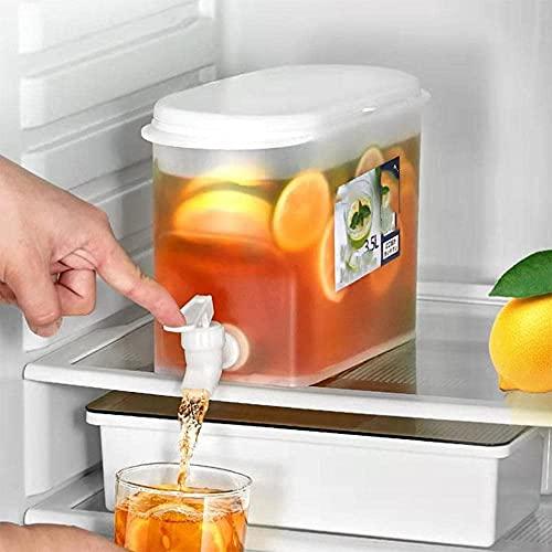 YYDS Dispensador de Agua para frigorífico Hervidor frío - Recipiente de Agua con Grifo para frigorífico, Recipiente dispensador de Bebidas de 3,5 l / 0,92 galones sin Funda de Base