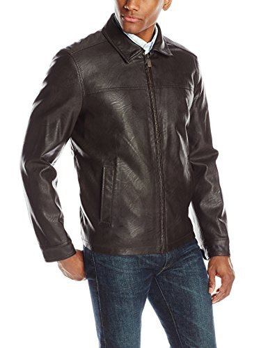 Dockers Men's Faux Leather Lay Down Collar Zip Front Jacket, Brown, Small