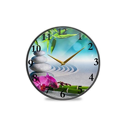 TropicalLife Horloge murale vintage japonaise zen en bambou avec fleurs et sable - Horloge murale décorative moderne à piles - Convient pour salle à manger, cuisine, bureau, salle de classe