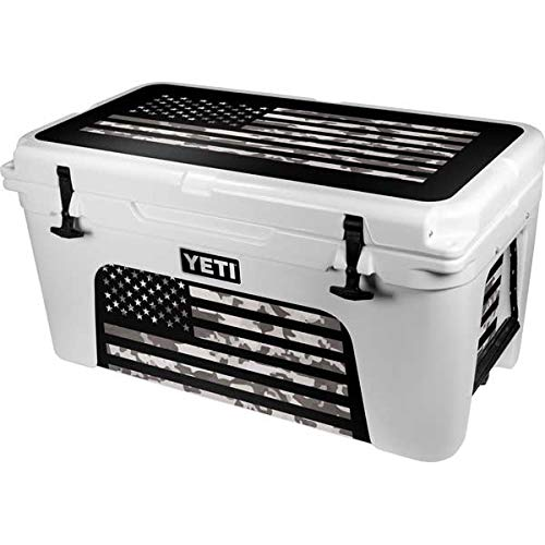 Skinit Decal Skin Compatible with YETI Tundra 65 Hard Cooler - Originally Designed Black and White Camo American Flag Design