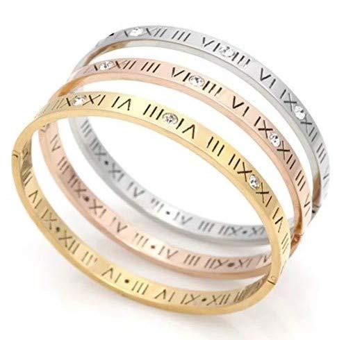 Pulsera rígida de acero inoxidable con número romano, para hombre y mujer, con caja de regalo incluida. dorado