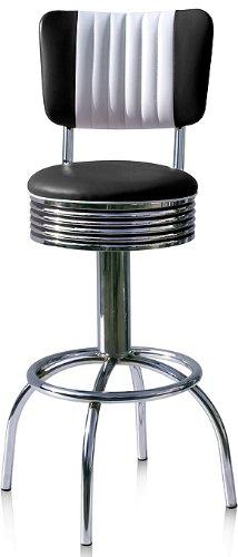 Bel Air Barstuhl 2-er Set Barhocker Gastronomie Hocker Bar Stuhl 50's Designerbarhocker Diner Hochstuhl (Black/White)